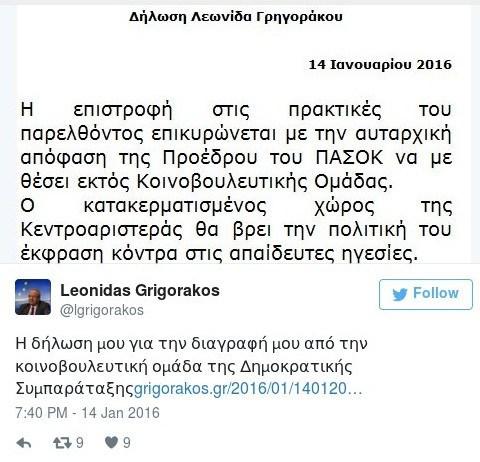 τουιτ Γρηγοράκου