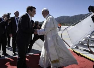 Μυτιλήνη, Τσίπρας, Πάπας, υποδοχή