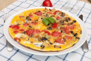 Egg Omelette With Tomatoes, Pepper, Mushrooms