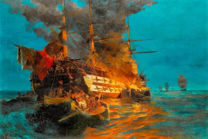 Κανάρης, πυρπολεί, ναυαρχίδα,