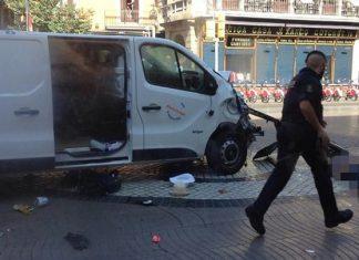 Βαρκελώνη, ζωντανός, οδηγός, φορτηγό,