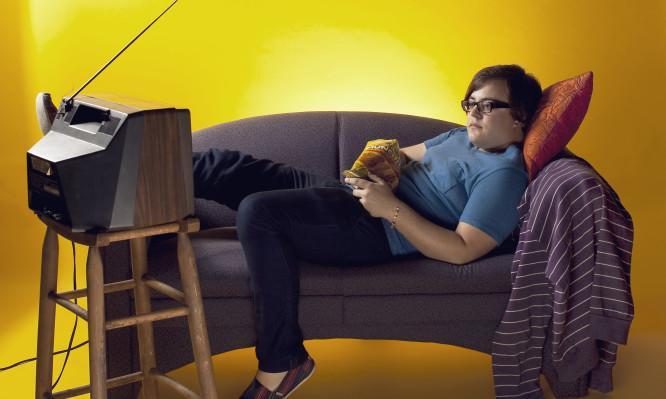 παιδιά, τηλεόραση, καναπέ,