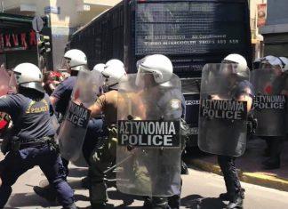 Υπό την επιτήρηση των ΜΑΤ οι ΣΥΡΙΖΑίοι στην επαρχία