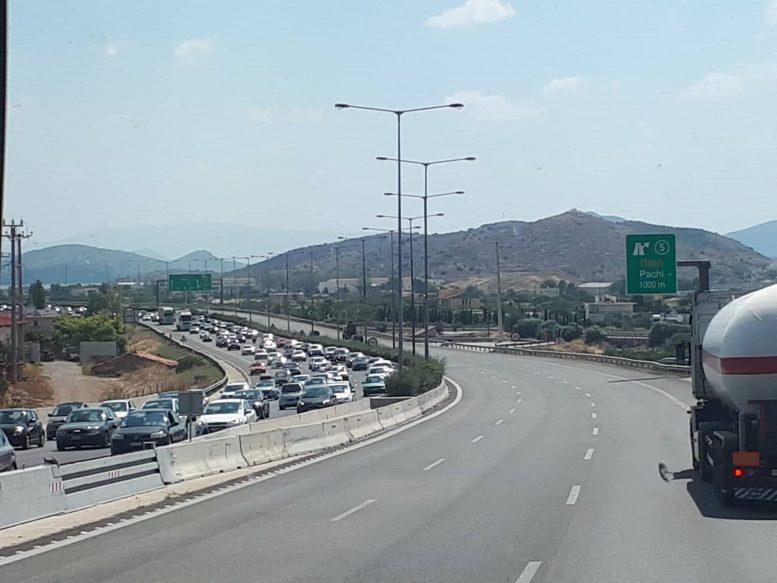 Αυξημένη η κίνηση στην Εθνική Οδό στο ύψος της Κινέτας