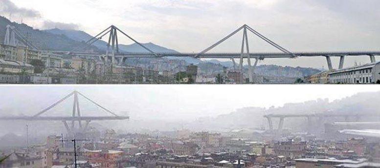 ΓΕΝΟΒΑ: Η γέφυρα που κατέρρευσε πριν και μετά την τραγωδία