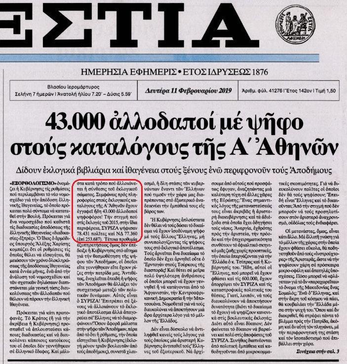 Καιρός να αντιδράσει η αντιπολίτευση! 43.000 αλλοδαποί με ψήφο στους καταλόγους της Α' Αθηνών!