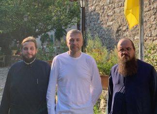 Ο Ριμπολόβλεφ στο μοναστήρι του Αγίου Ιωάννη στην Καρυά