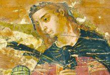 Η εικόνα της Αγίας Αικατερίνης, στα αριστερά φαίνεται το χέρι της Παναγίας της Οδηγήτριας