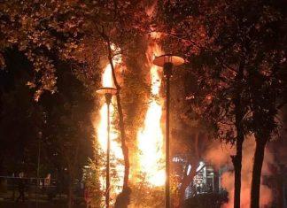 Εξάρχεια: Έκαψαν ξανά το χριστουγεννιάτικο δέντρο