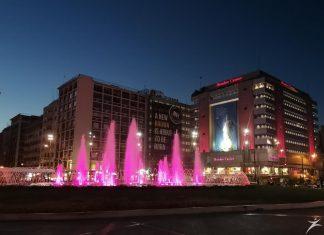 Ροζ το συντριβάνι της Ομόνοιας για τον καρκίνο του μαστού
